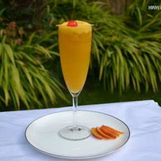 Non-Alcoholic Peach/Mango Bellini Cocktail.