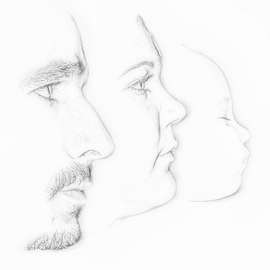 Faces of the future by John Cuthbert - Drawing All Drawing ( mum, dad, sketch, pencil, family, parents, child )
