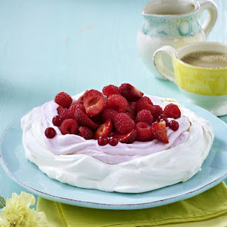 Pavlova with Glazed Summer Berries