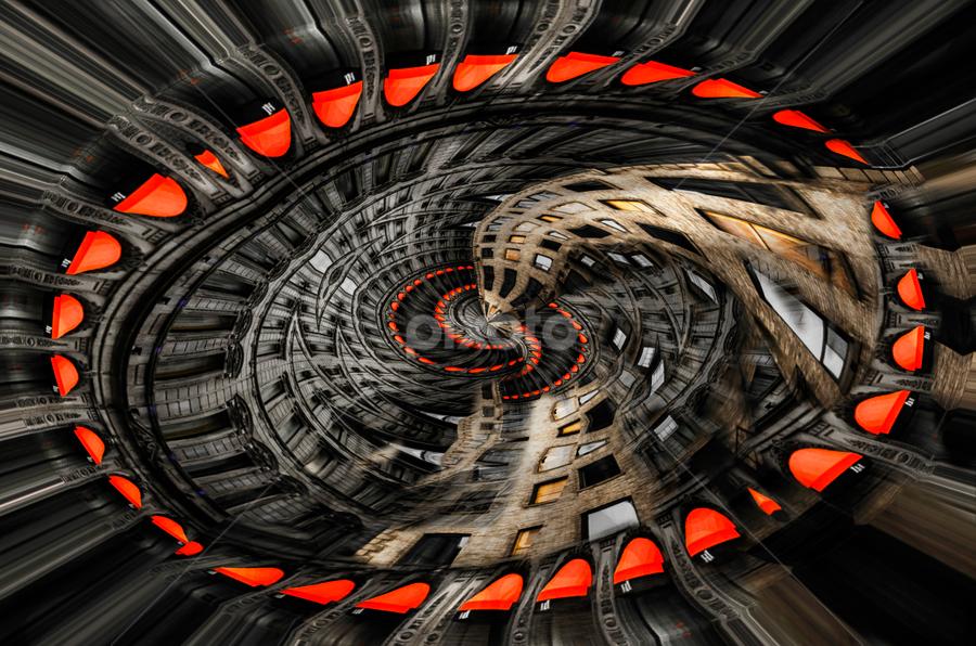 Abstract Building by Sarah Hauck - Digital Art Abstract ( building, walls, windows, circle, spiral walls )