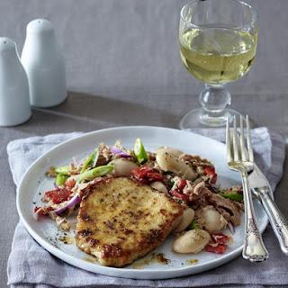 Pork Steaks with Tuna and Bean Salad.