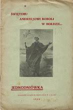 """Photo: Jednodniówka """"Świętemu Andrzejowi Boboli w hołdzie"""" Broszura o wym. 15.5 x 23.5 cm, stron 16, 1938 r."""