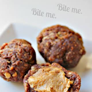Healthy Peanut Butter-Stuffed Chocolate Date Balls (Vegan; GF and Raw Option).