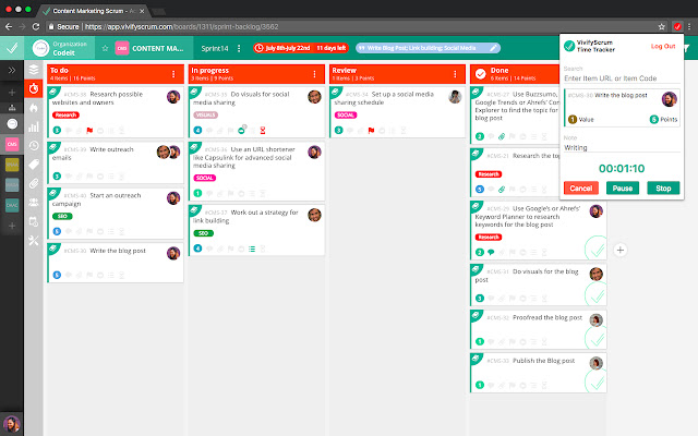 VivifyScrum Time Tracker