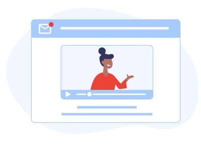 Illustration of a browser with a woman inside of a video window.