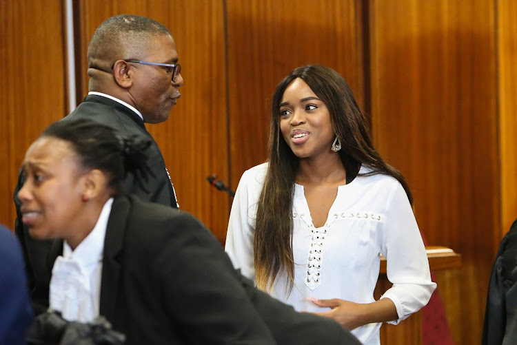 Cheryl Zondi who is a witness in the rape case against charismatic Nigerian pastor Timothy Omotoso at the Port Elizabeth High Court.