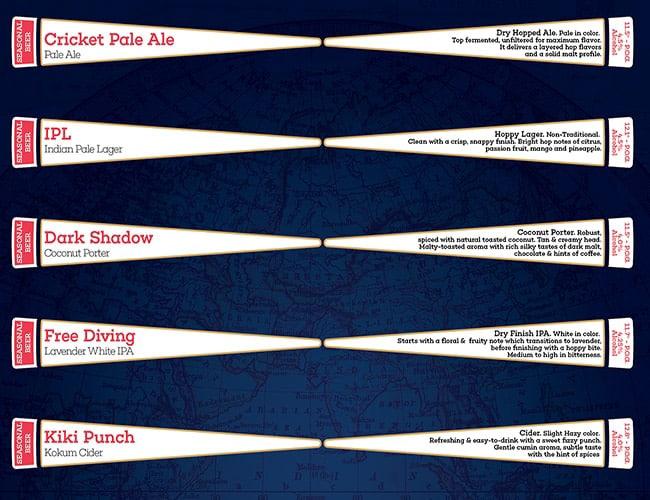 Drifters Tap Station menu 6
