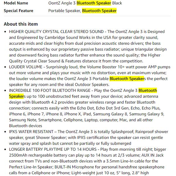 product description keyword check