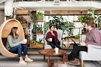 Trois personnes assises en train de rire autour d'une table basse dans un bureau avec des étagères couvertes de plantes vertes en arrière-plan