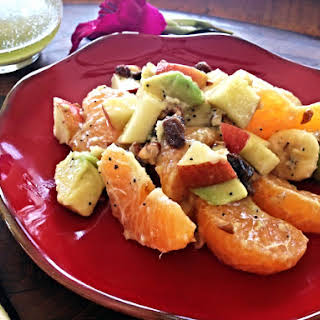 Fruit Salad with Champagne Honey Mustard Dressing.