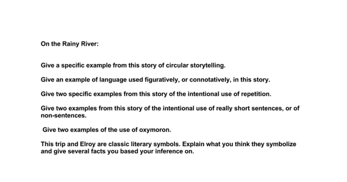 On The Rainy River Google Docs