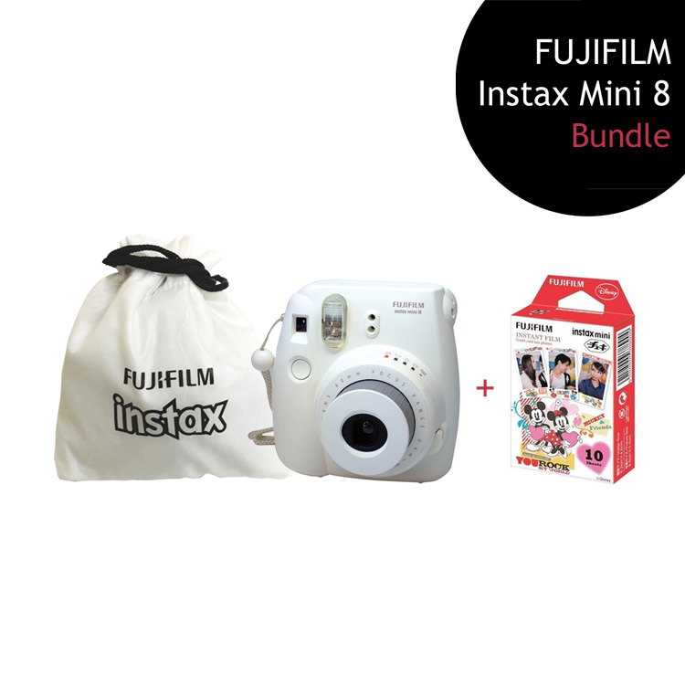 [Bundle] FUJIFILM Instax Mini 8 Camera (White) + Mickey Mouse Film Pack + Instax Pouch by My Pocket Net Sdn Bhd