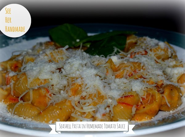 Shell Pasta In Homemade Tomato Sauce Recipe