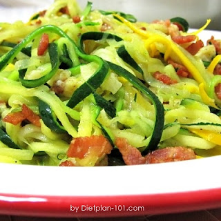 Stir-Fried Zucchini Noodle with Bacon and Parmesan (for Atkins Diet Phase 1).