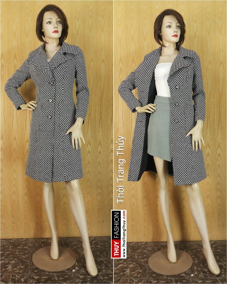 Áo khoác dạ nữ dáng dài qua gối V643 thời trang thủy