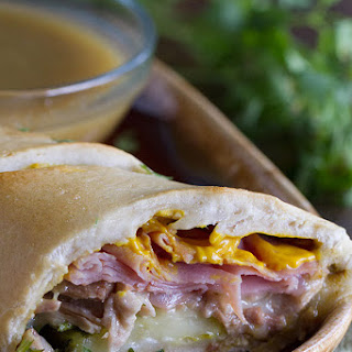 Shortcut Cuban Sandwiches with Green Chile au Jus.