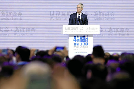 Employment giant: Apple CEO Tim Cook says the company supports more than 5-million jobs in China, including 1.8-million local mobile app developers. Picture: REUTERS