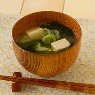 Miso soup with Tofu, Naga-negi onion and Dried Wakame seaweed