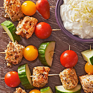 Mini Souvlaki Skewers with Fennel-Yogurt Dip