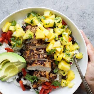 Jerk Chicken Bowls with Mango Pineapple Salsa.