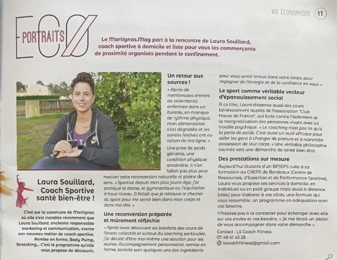 L'article présentation l'activité de coaching sportif de Laura Souillard dans le journal de sa ville