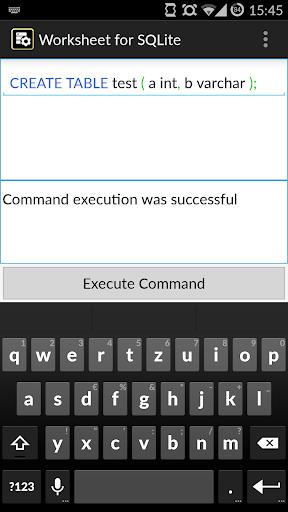 Worksheet for SQLite