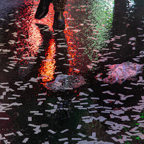 Wet New York Times Square  by VAM Photography - Public Holidays New Year's Eve ( new years, celebration, places, culture, times square, new york )