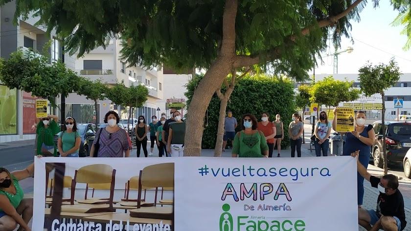 Manifestantes de FAPACE, ayer en el Paseo Miguel de Cervantes de Vera.