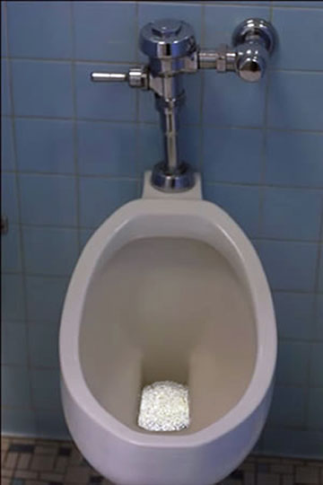 Photo: Pissing Contest 2006 Guerilla Installation at the Whitney Biennial NYC, NY Swarovski crystals, urinal