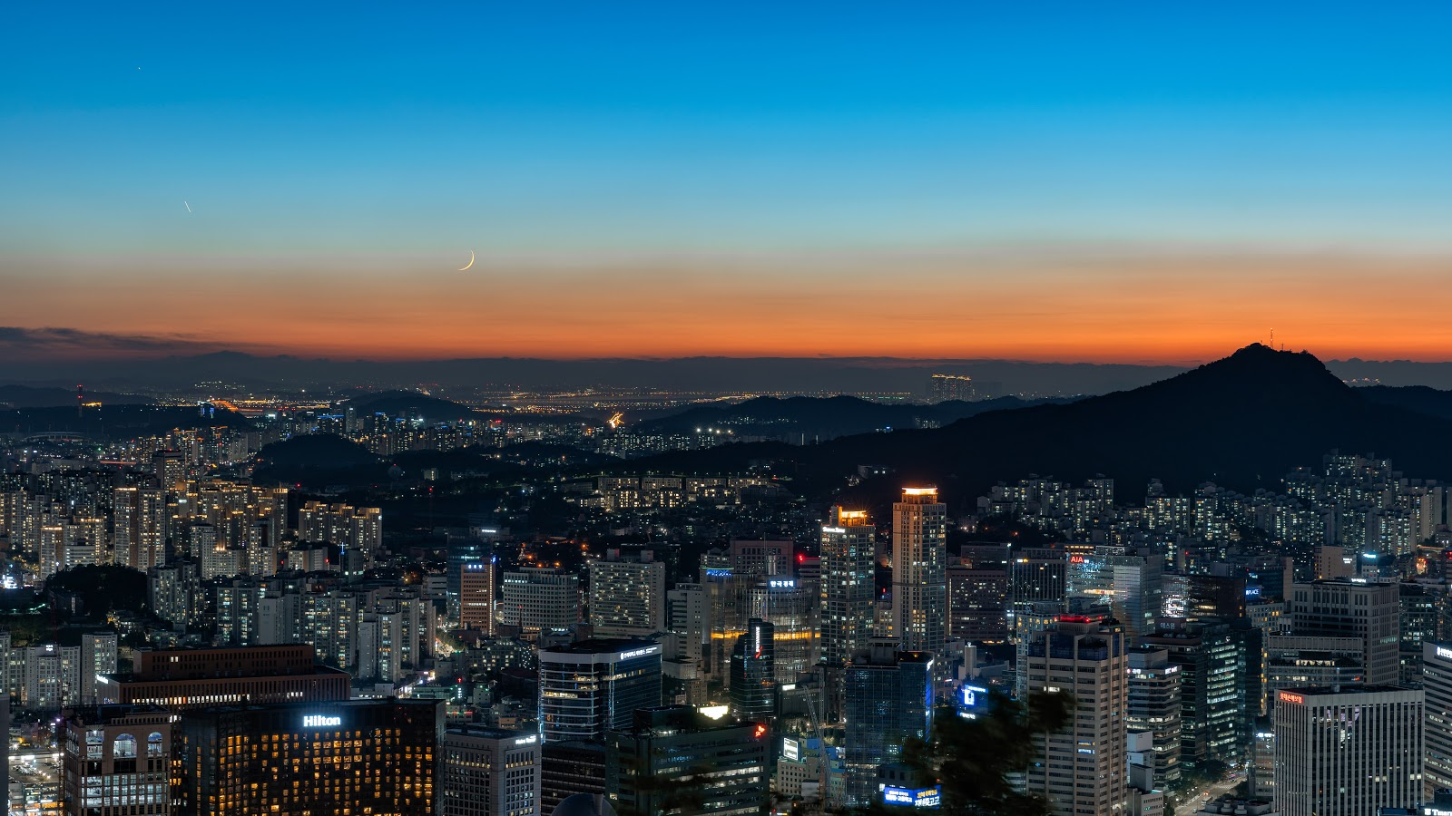 aerial view of expensive city seoul