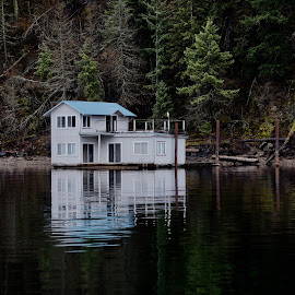 Hideout at the Lake by Barbara Brock - Buildings & Architecture Other Exteriors ( tiny house, house on the lake, reflections in water, vacation living, small house, lake coeur d'alene )