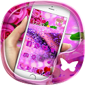 Purple rose 3D crystal theme icon