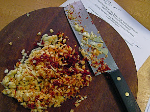 Photo: chopped garlic and soaked dried chillies with recipe