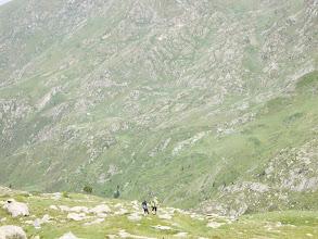 Photo: Descente des Lauzets vers le déversoir de l'Etg de Milouga et la Cabane Pastorale du Taus