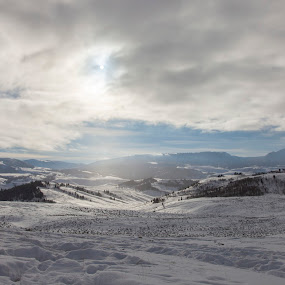 Cold Morning on the Bison Hunt by Nathan Robertson - Landscapes Mountains & Hills ( clouds, cold, wyoming, snow, morning )