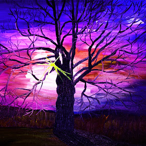 Majestic oak 2 by Paul Robin Andrews - Painting All Painting ( tree, oak, majestic, sunrise, oil painting )