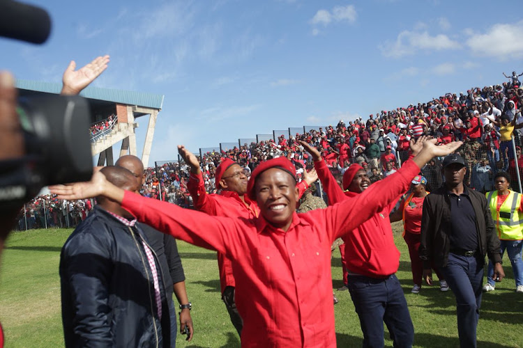 EFF leader Julius Malema at the party's 5th anniversary celebrations at Sisa Dukashe Stadium in Mdantsane' East London.