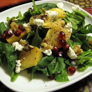 Persimmon, Pomegranate, and Goat Cheese Salad
