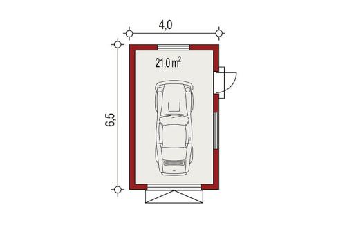 APG-3 wersja A - Rzut garażu