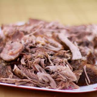 Traditionally Brined Crockpot Pulled Pork Shoulder.