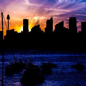 Sydney On Fire by Kelly Hulme - Landscapes Sunsets & Sunrises ( city scape, sunset, harbour, sydney )