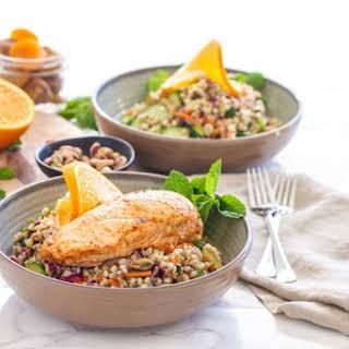 Moroccan Grain Bowl with Harissa Orange Chicken.
