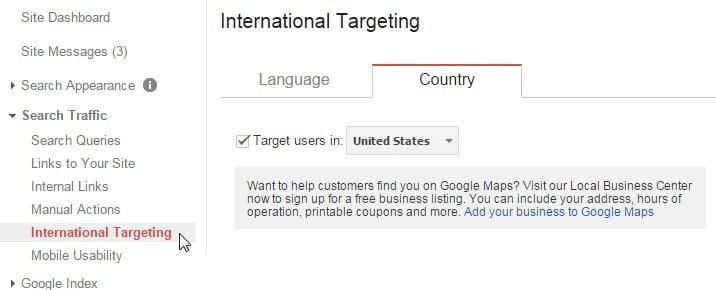international targeting choose country gwt