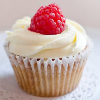 White Chocolate Raspberry Cupcakes.