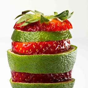 citron exotique by Olivier Tabary - Food & Drink Fruits & Vegetables ( citron, salade de fruit, rouge, fraise, pwcfruit, vert )