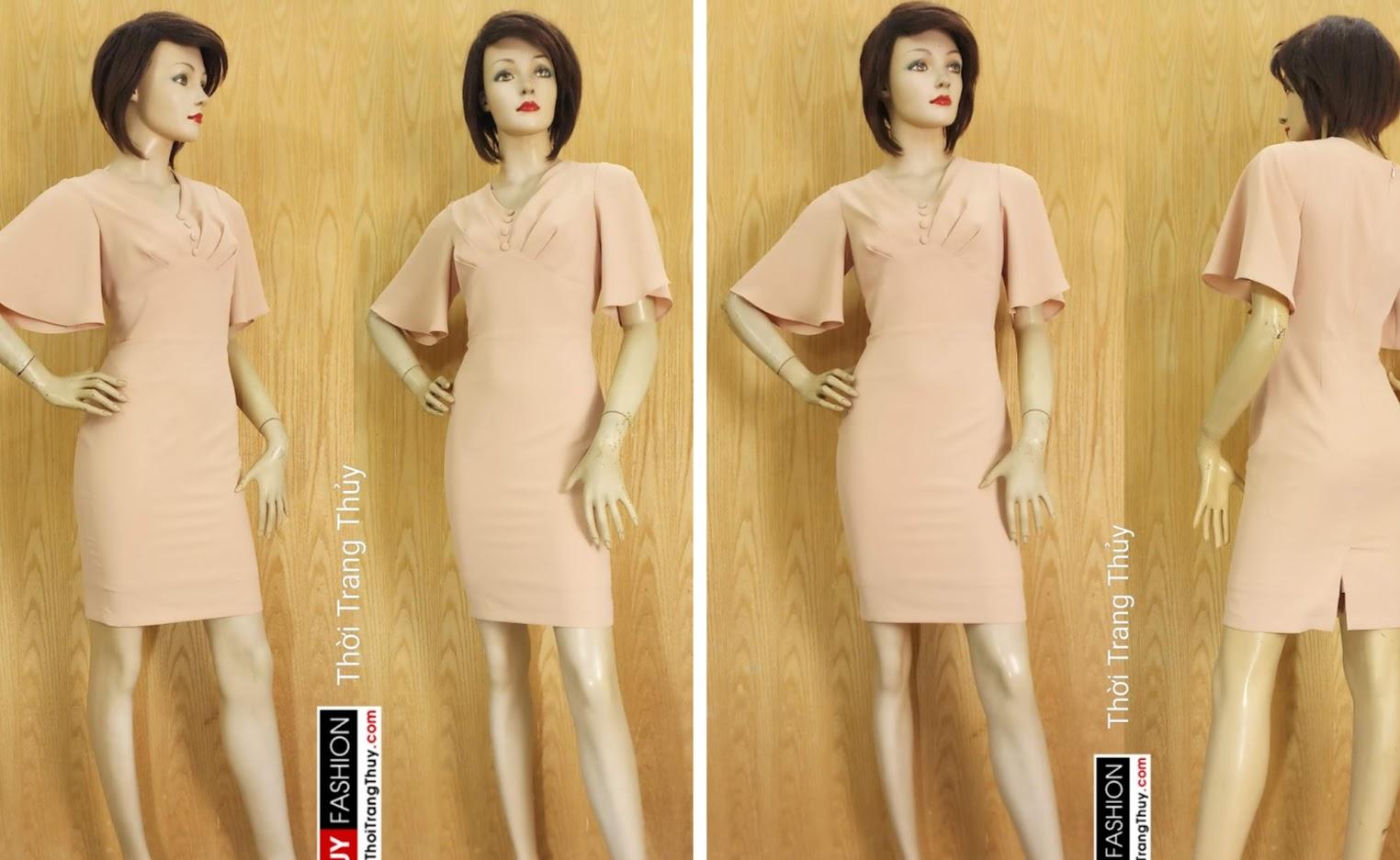 Váy bút chì tay loe xếp ly trước ngực V680 thời trang thủy