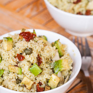 15 Minute Vegan Couscous with Sun-Dried Tomatoes, Avocados, and Artichokes.