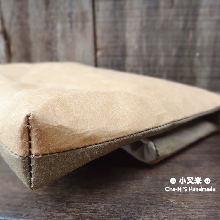 Hand Clutch Paper Bag (army green x light brown)