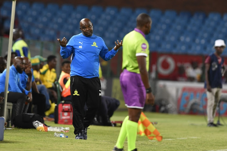 Pitso Mosimane of Mamelodi Sundowns during the Absa Premiership match between Mamelodi Sundowns and Maritzburg United at Loftus Stadium on January 16, 2019 in Pretoria, South Africa.