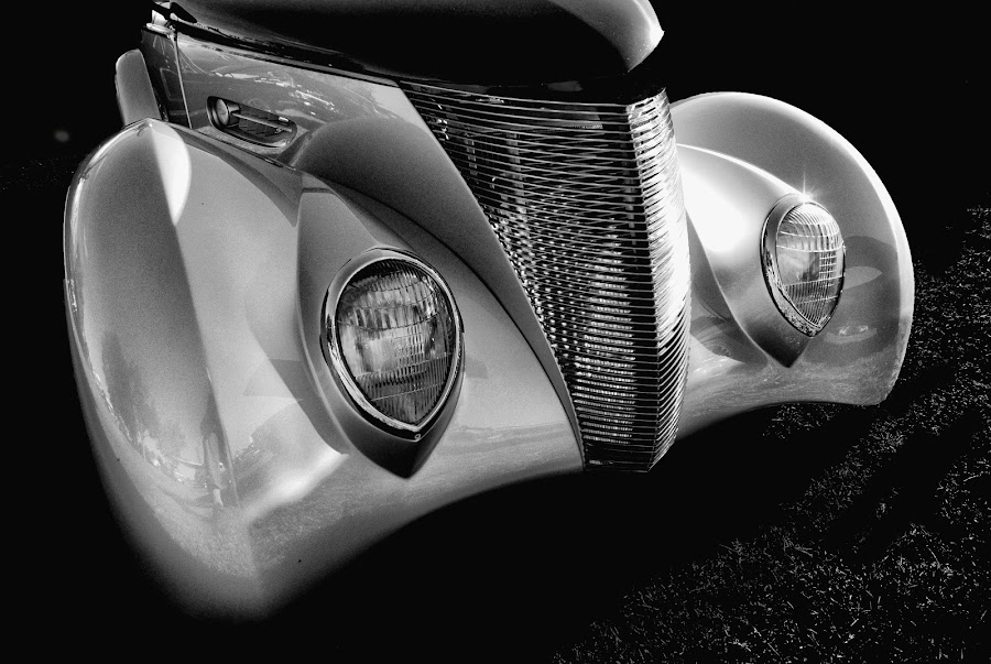 Classy Rod by Andrew Tolsma - Transportation Automobiles ( grill, silver, head lights, hot rod, black and white, b&w, portrait, people, city, photography )